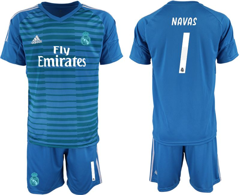Men 2019-2020 club Real Madrid blue goalkeeper 1 Soccer Jerseys