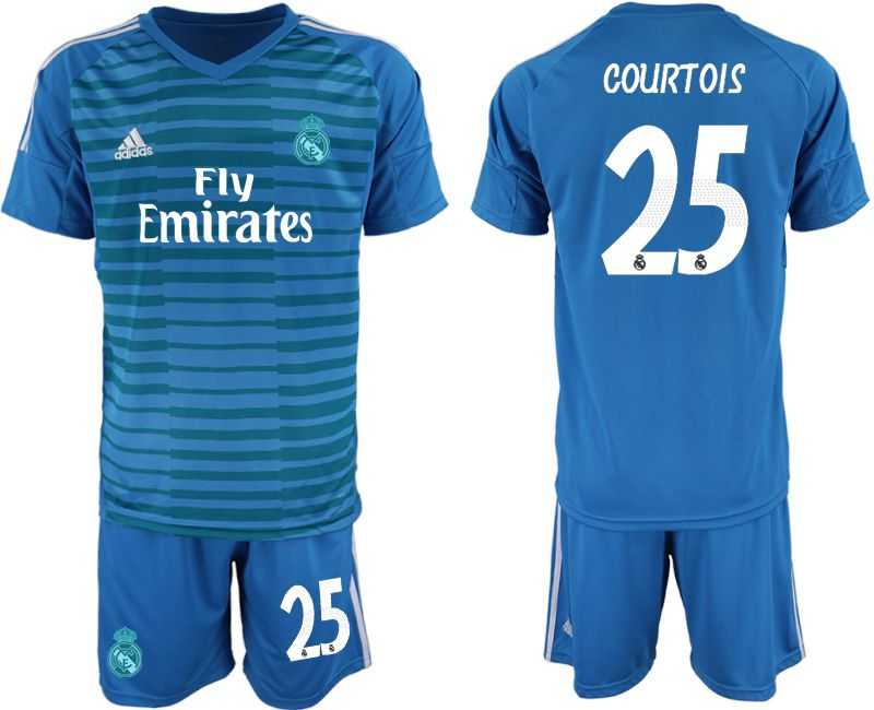 Men 2019-2020 club Real Madrid blue goalkeeper 25 Soccer Jerseys
