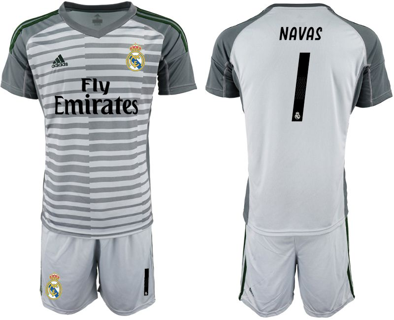 Men 2019-2020 club Real Madrid gray goalkeeper 1 Soccer Jerseys