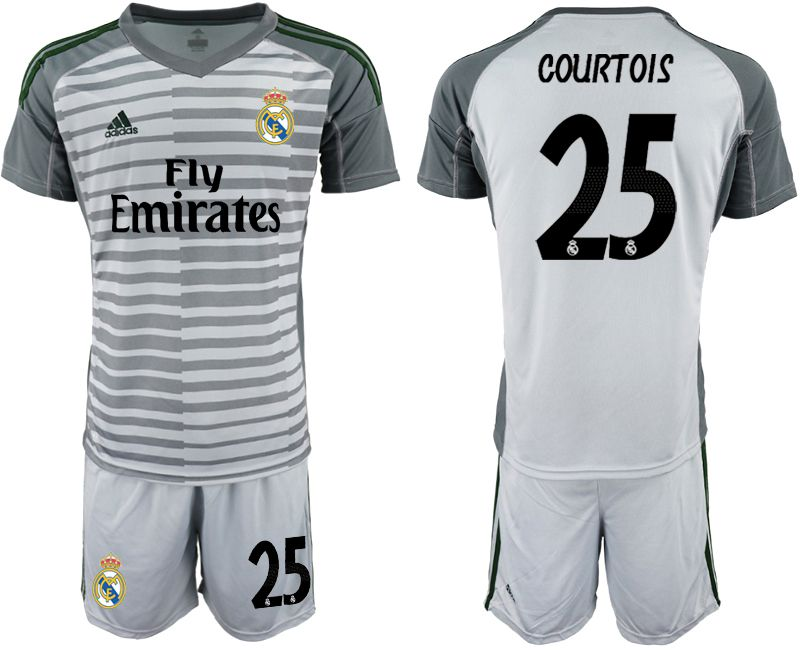 Men 2019-2020 club Real Madrid gray goalkeeper 25 Soccer Jerseys