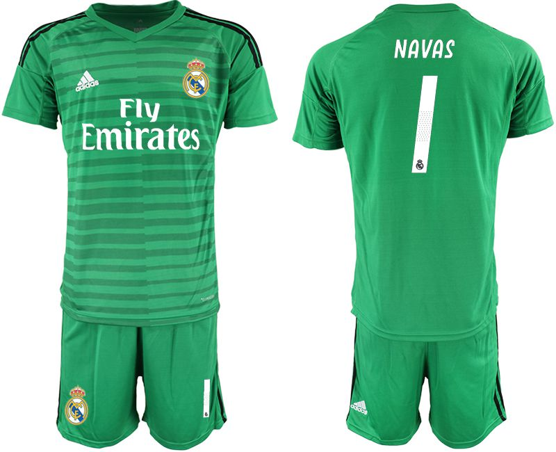 Men 2019-2020 club Real Madrid green goalkeeper 1 Soccer Jerseys