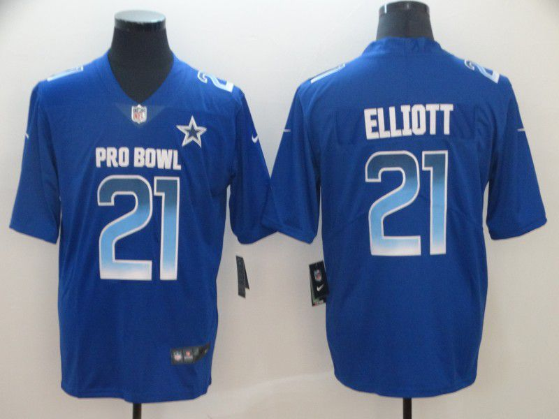 Men Dallas Cowboys 21 Elliott Blue Nike Royal 2019 Pro Bowl Limited Jersey
