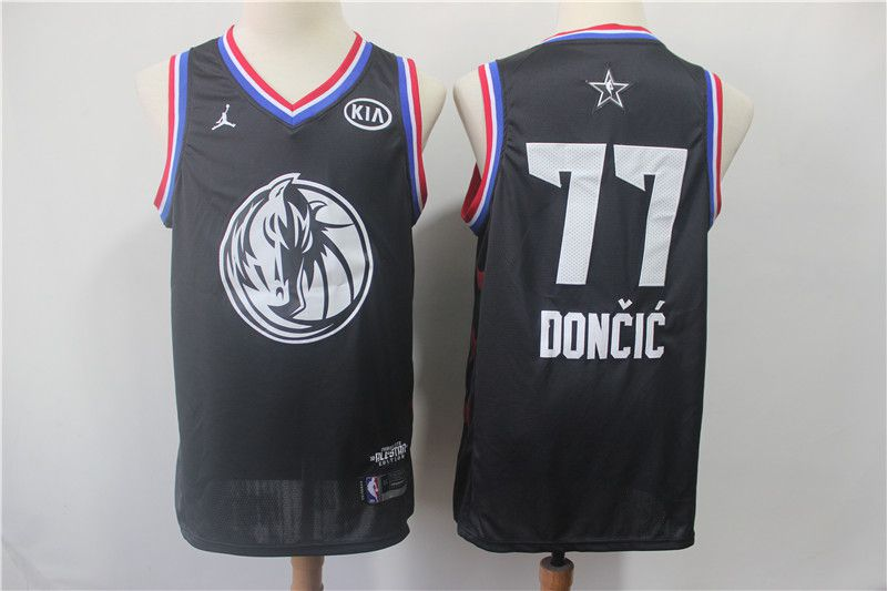 Men Dallas Mavericks 77 Doncic Black 2019 All Star NBA Jerseys
