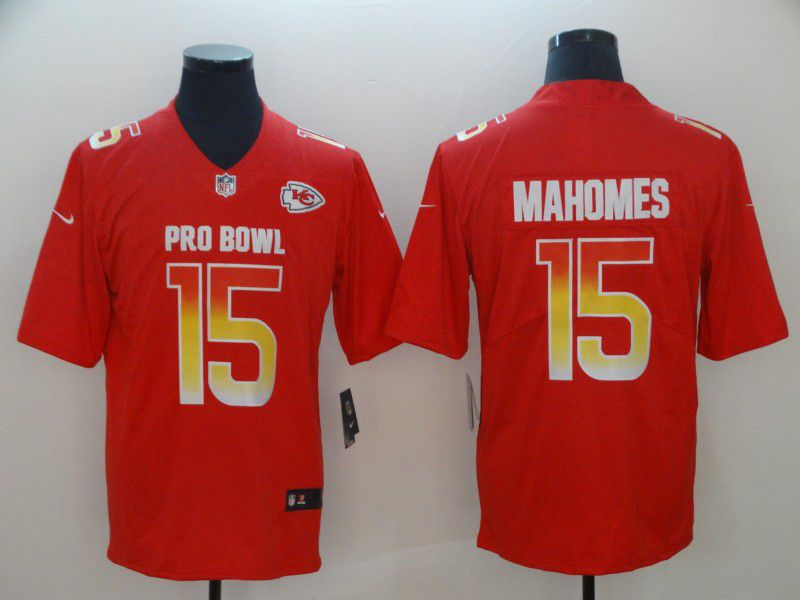 Men Kansas City Chiefs 15 Mahomes Red Nike Royal 2019 Pro Bowl Limited Jersey