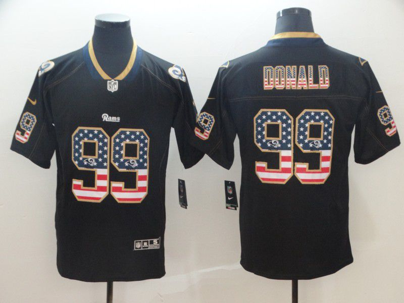 Men Los Angeles Rams 99 Donald Nike USA Flag Fashion Black Color Rush Limited NFL Jerseys