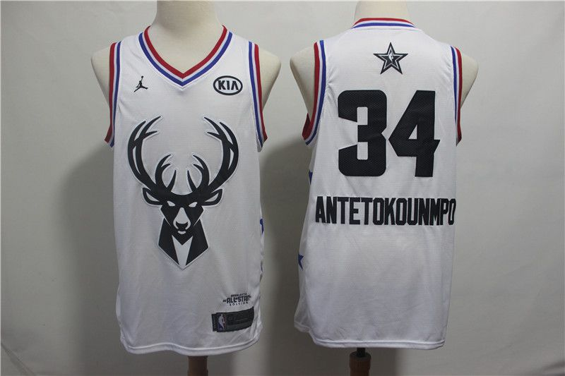 Men Milwaukee Bucks 34 Antetokounmp White 2019 All Star NBA Jerseys
