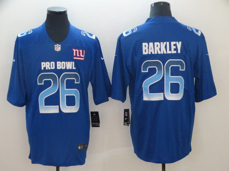 Men New York Giants 26 Barkley Blue Nike Royal 2019 Pro Bowl Limited Jersey
