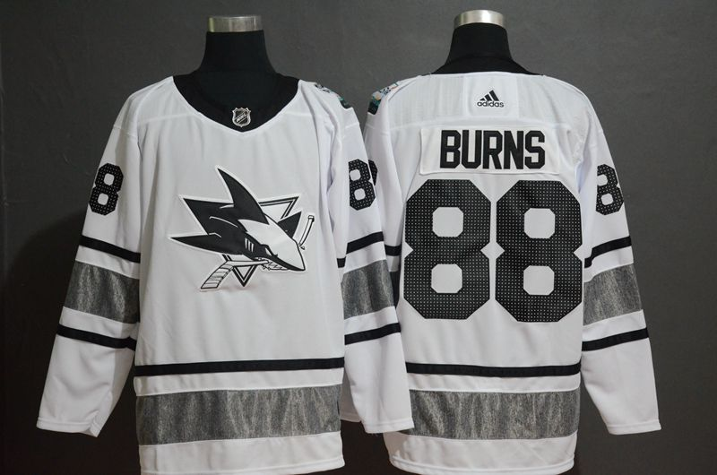 Men San Jose Sharks 88 Burns White 2019 All Star NHL Jerseys