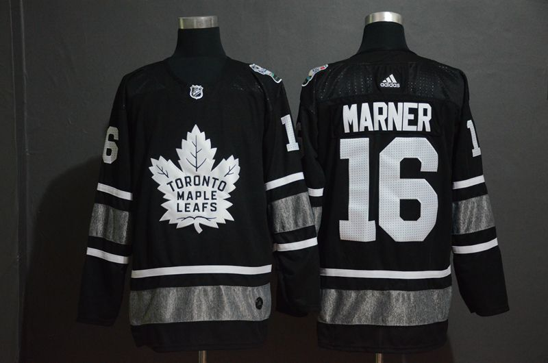 Men Toronto Maple Leafs 16 Marner Black 2019 All Star NHL Jerseys