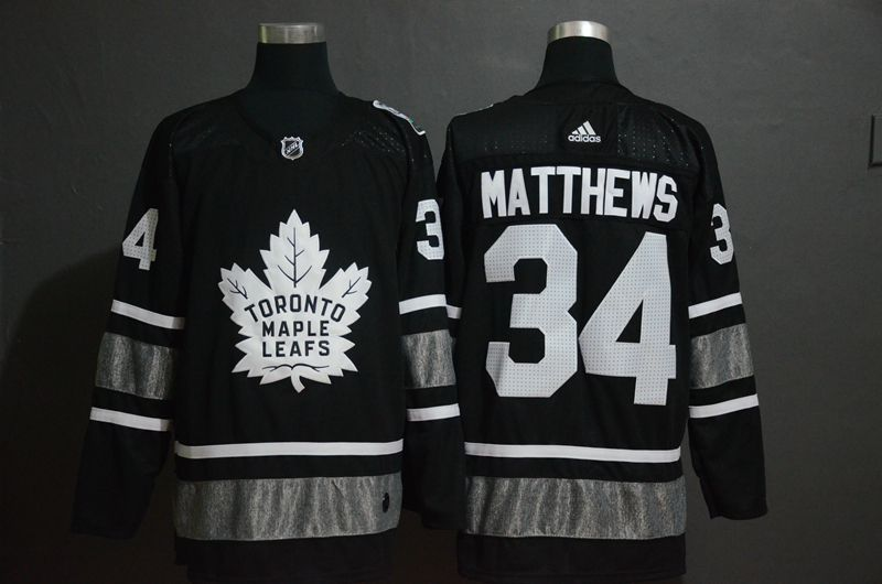 Men Toronto Maple Leafs 34 Matthews Black 2019 All Star NHL Jerseys