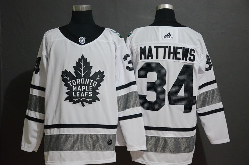 Men Toronto Maple Leafs 34 Matthews White 2019 All Star NHL Jerseys