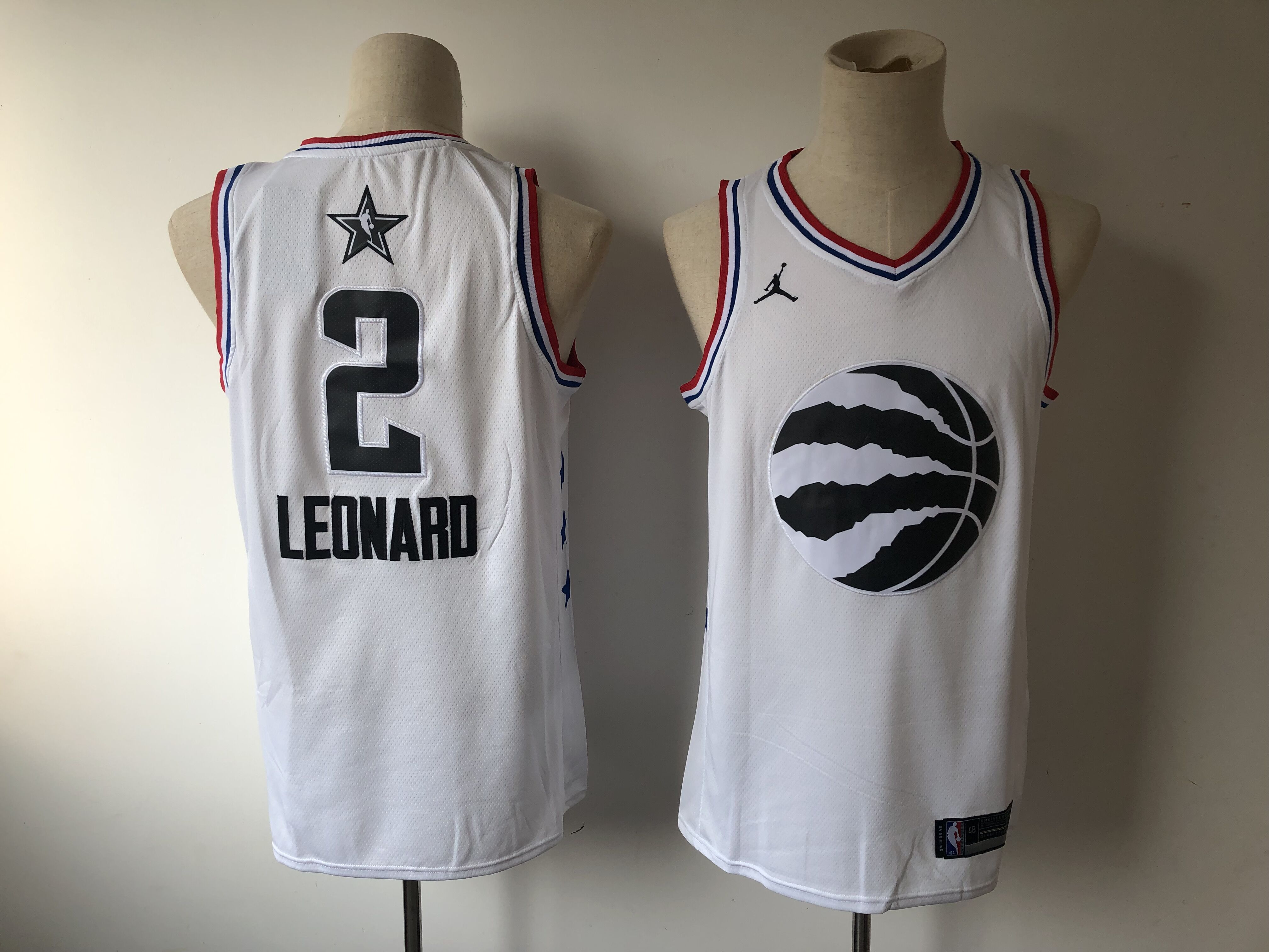Men Toronto Raptors 2 Leonard White 2019 All Star NBA Jerseys