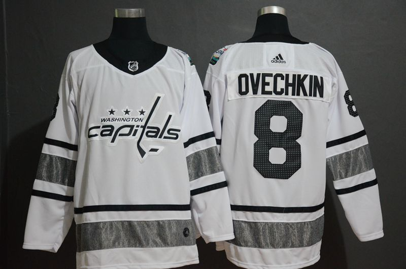 Men Washington Capitals 8 Ovechkin White 2019 All Star NHL Jerseys
