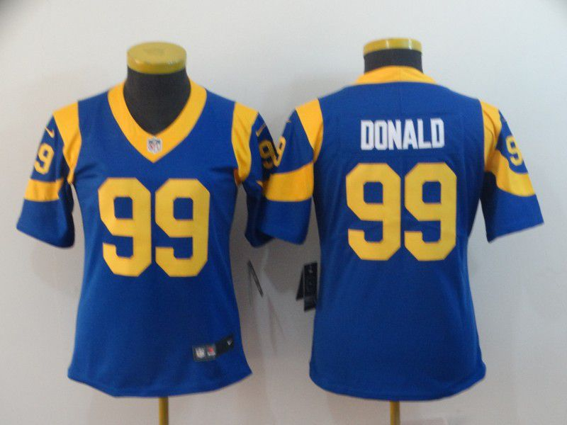 Women Los Angeles Rams 99 Donald Blue Nike Vapor Untouchable Limited Player NFL Jerseys