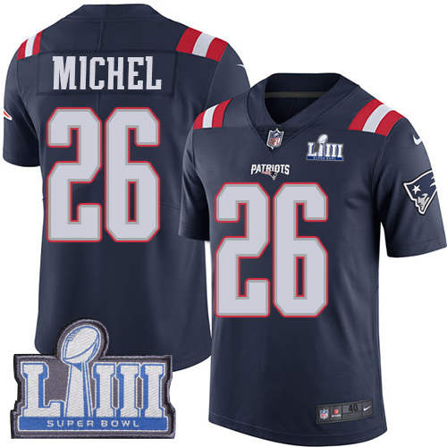 Women New England Patriots 26 Michel blue Nike Vapor Untouchable Limited  2019 Super Bowl LIII NFL 51038130c18