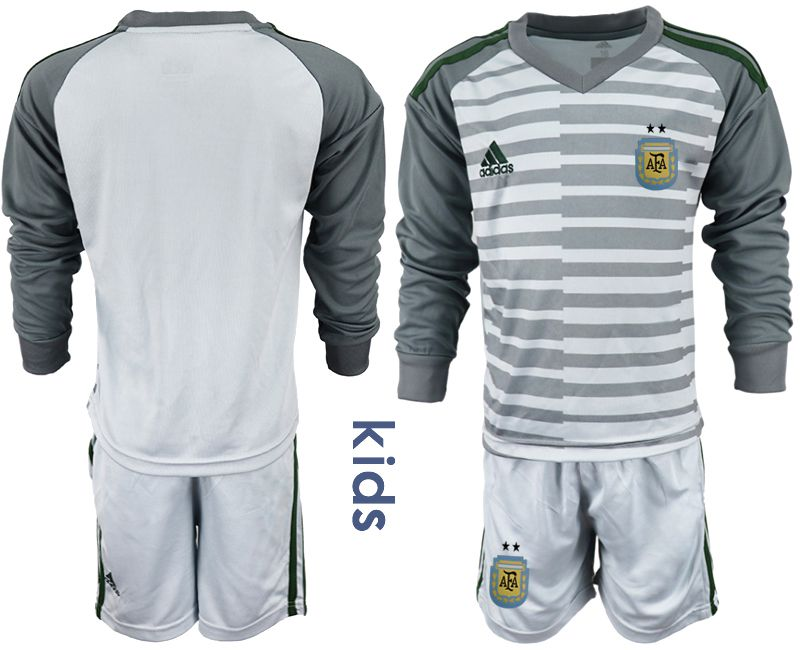 Youth 2018 World Cup Argentina gray long sleeve goalkeeper soccer jersey