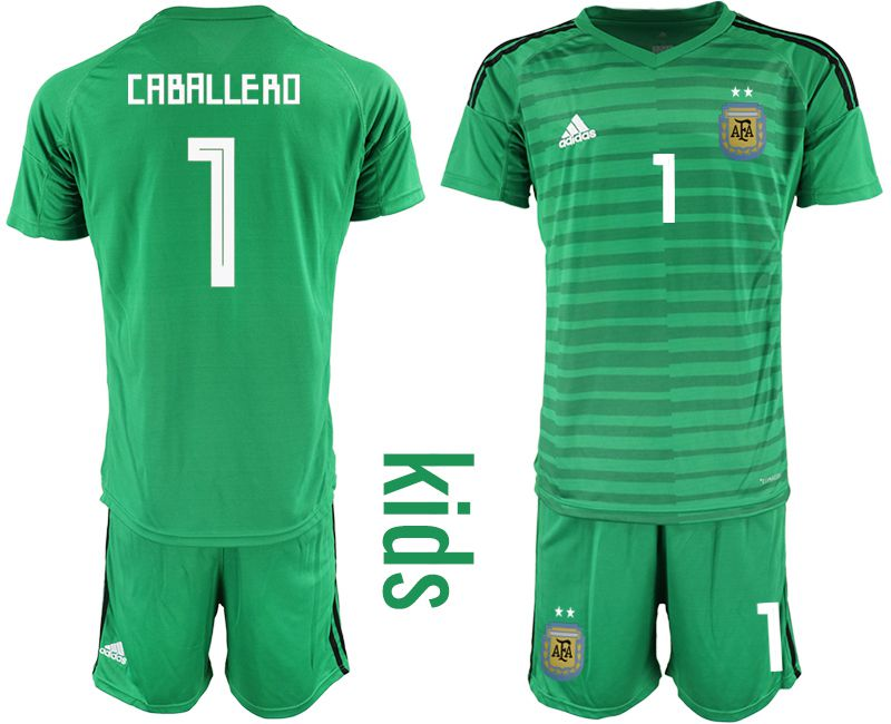 Youth 2018 World Cup Argentina green goalkeeper soccer jersey1