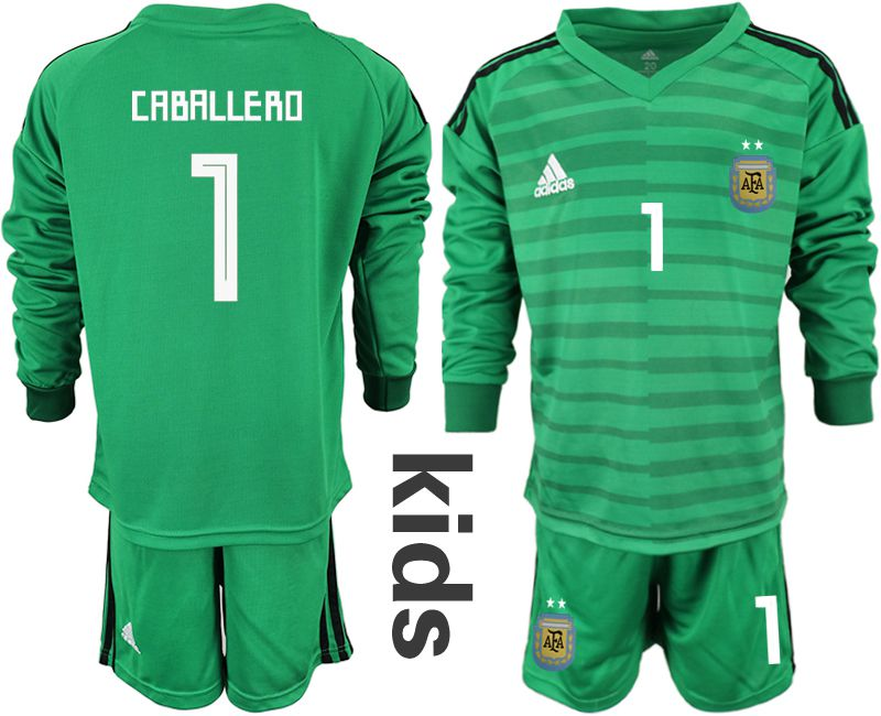 Youth 2018 World Cup Argentina green long sleeve goalkeeper 1 soccer jersey