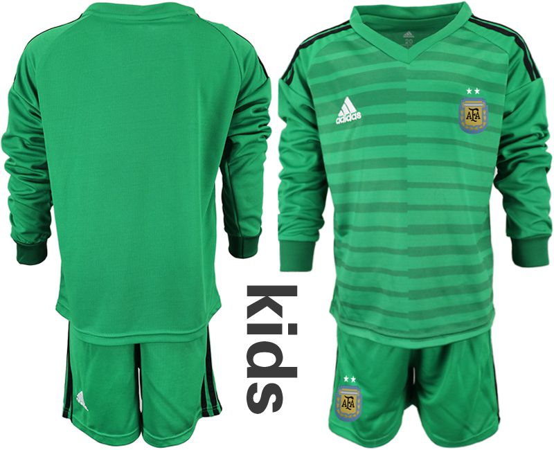 Youth 2018 World Cup Argentina green long sleeve goalkeeper soccer jersey