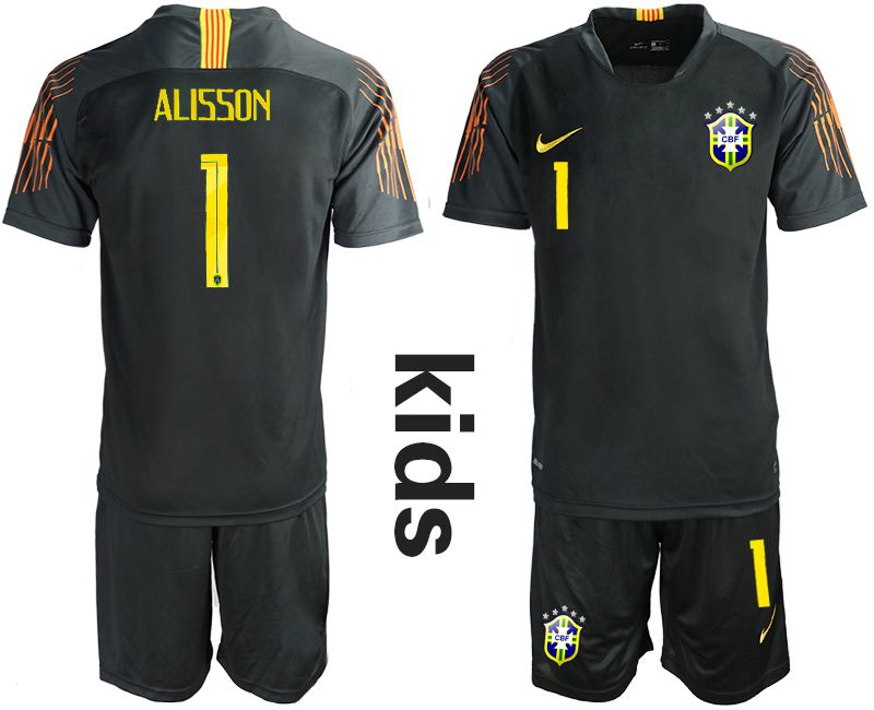 Youth 2018 World Cup Brazil black goalkeeper 1 Soccer Jerseys