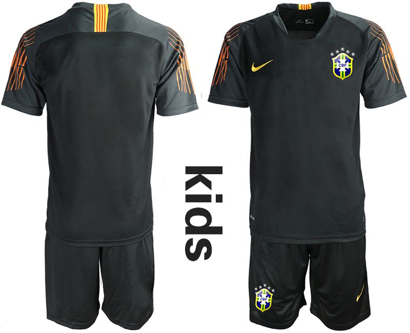 Youth 2018 World Cup Brazil black goalkeeper Soccer Jerseys