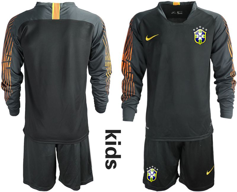 Youth 2018 World Cup Brazil black long sleeve goalkeeper Soccer Jerseys
