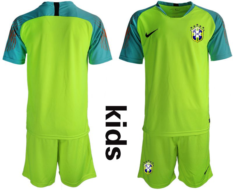Youth 2018 World Cup Brazil fluorescent green goalkeeper Soccer Jerseys