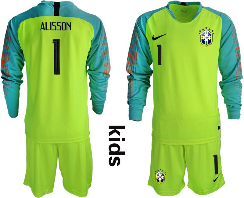 Youth 2018 World Cup brazil fluorescent green long sleeve goalkeeper 1 Soccer Jerseys