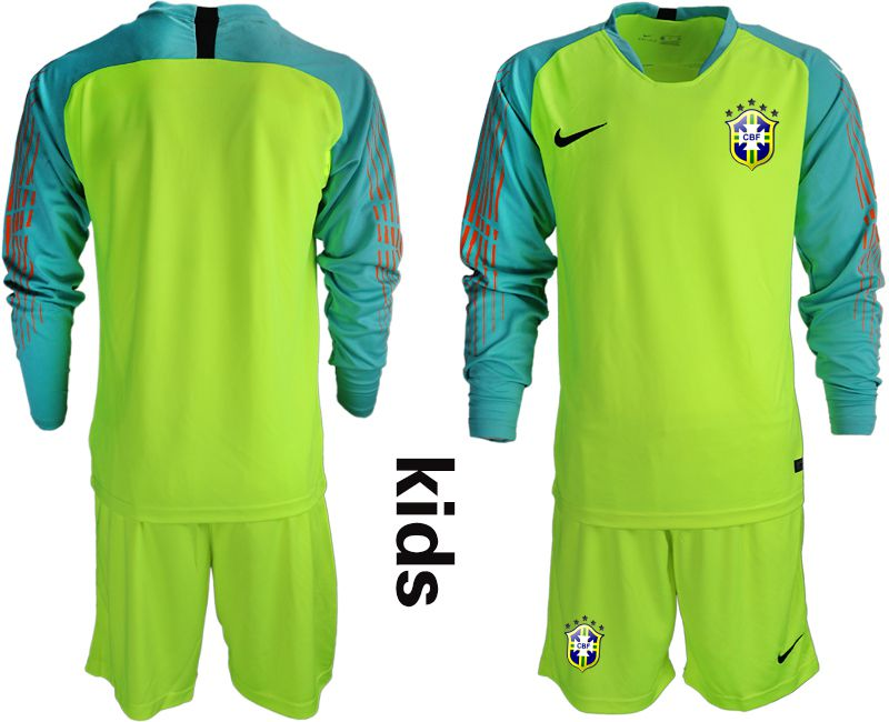 Youth 2018 World Cup brazil fluorescent green long sleeve goalkeeper Soccer Jerseys
