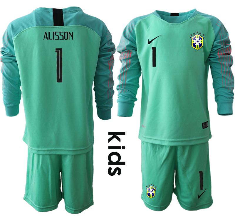 Youth 2018 World Cup brazil green goalkeeper long sleeve 1 Soccer Jerseys