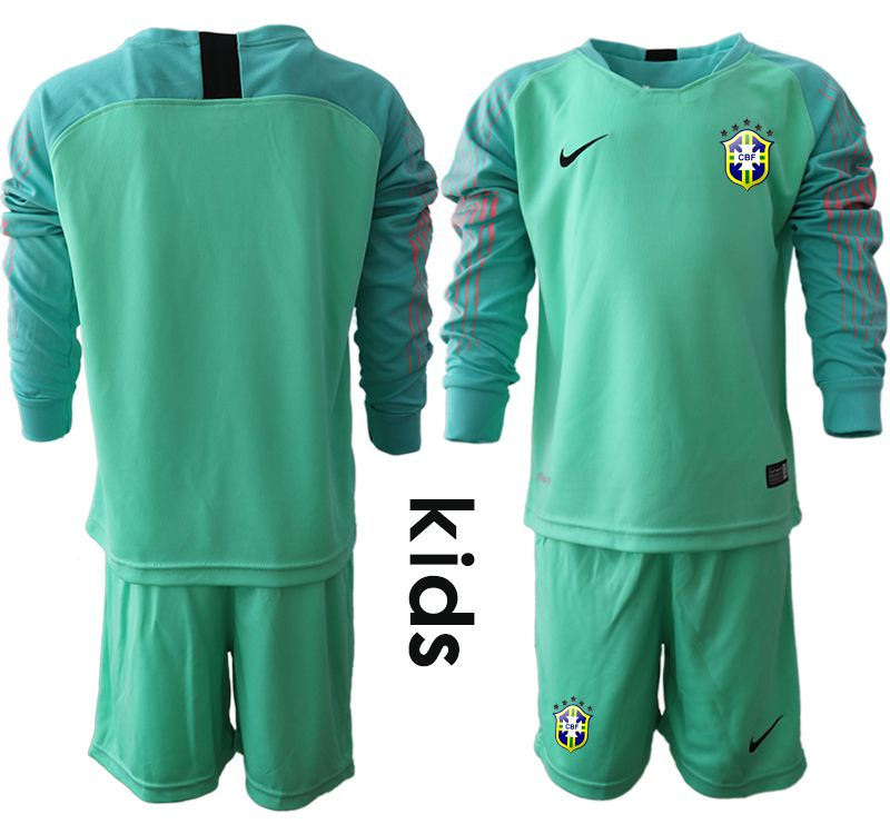 Youth 2018 World Cup brazil green goalkeeper long sleeve Soccer Jerseys