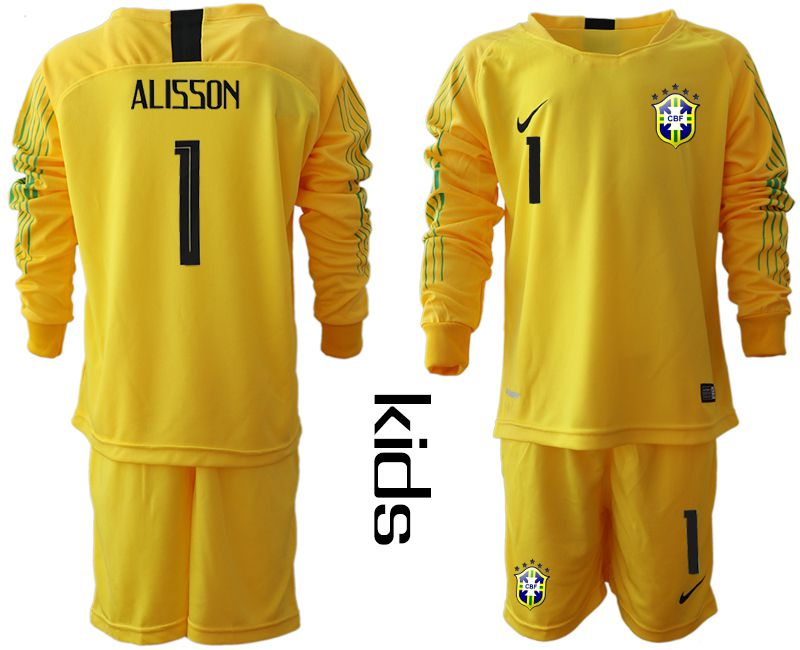 Youth 2018 World Cup brazil yellow long sleeve goalkeeper 1 Soccer Jerseys