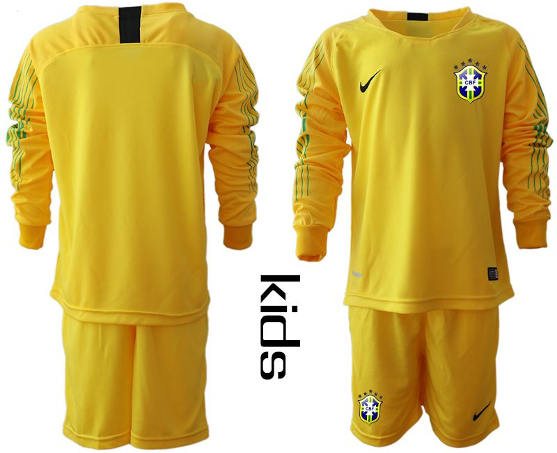 Youth 2018 World Cup brazil yellow long sleeve goalkeeper Soccer Jerseys