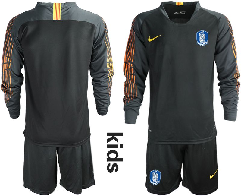 Youth 2018-2019 National Team Korea Republic black long sleeve goalkeeper Soccer Jerseys