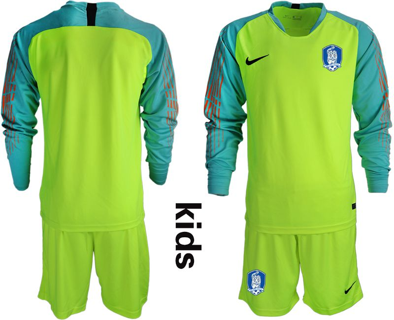 Youth 2018-2019 National Team Korea Republic fluorescent green long sleeve goalkeeper Soccer Jerseys