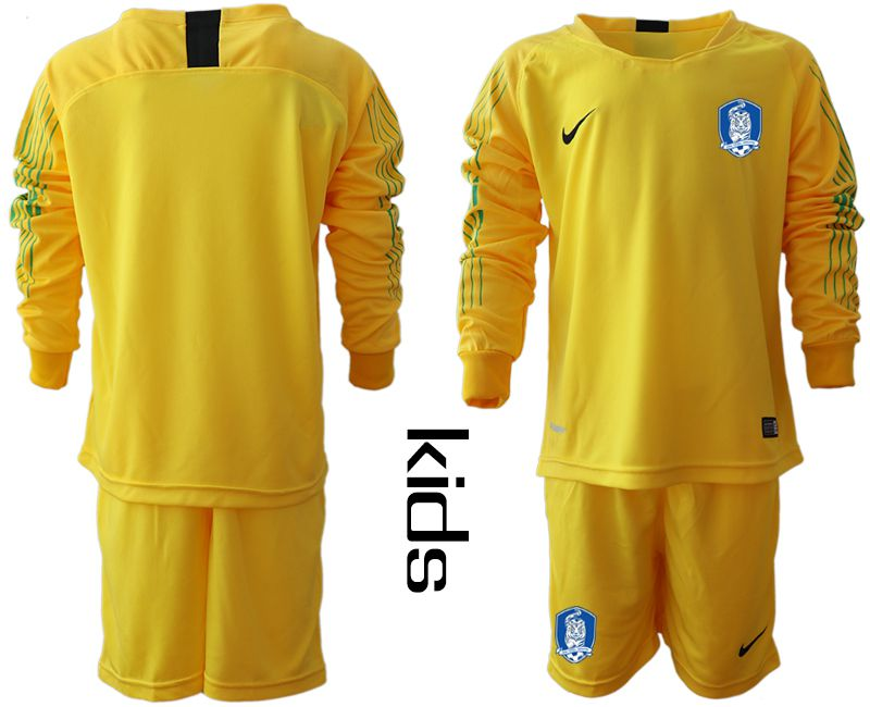 Youth 2018-2019 National Team Korea Republic yellow long sleeve goalkeeper Soccer Jerseys