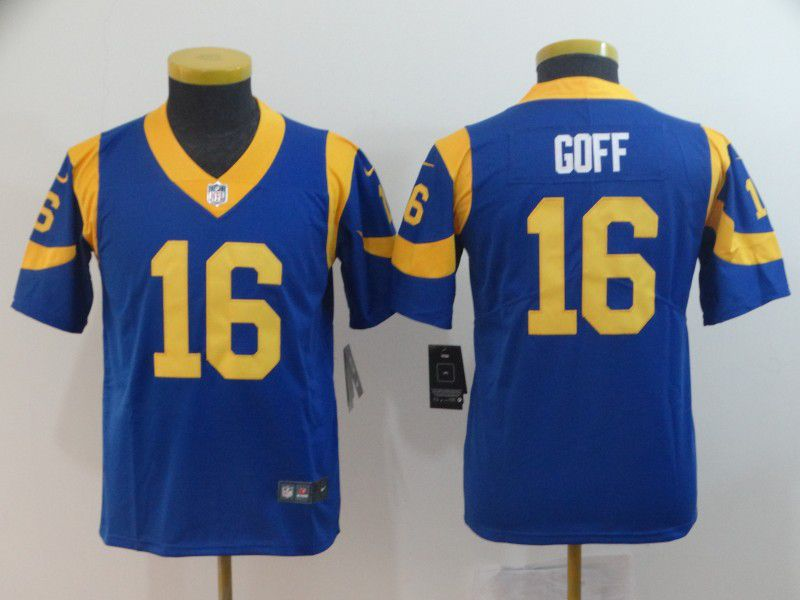 Youth Los Angeles Rams 16 Goff Blue Nike Vapor Untouchable Limited Player NFL Jerseys