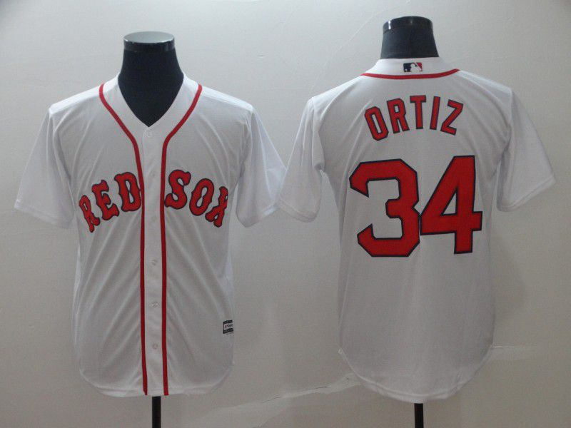 2019 MLB Men Boston Red Sox 34 Ortiz white game Jerseys