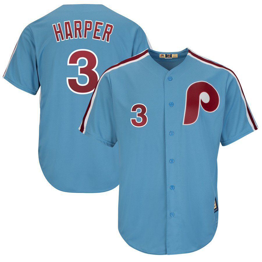 2019 MLB Men Philadelphia Phillies 3 Bryce Harper blue game Jerseys