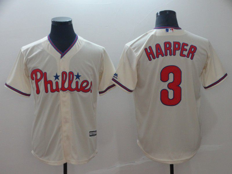 2019 MLB Men Philadelphia Phillies 3 Bryce Harper cream game Jerseys