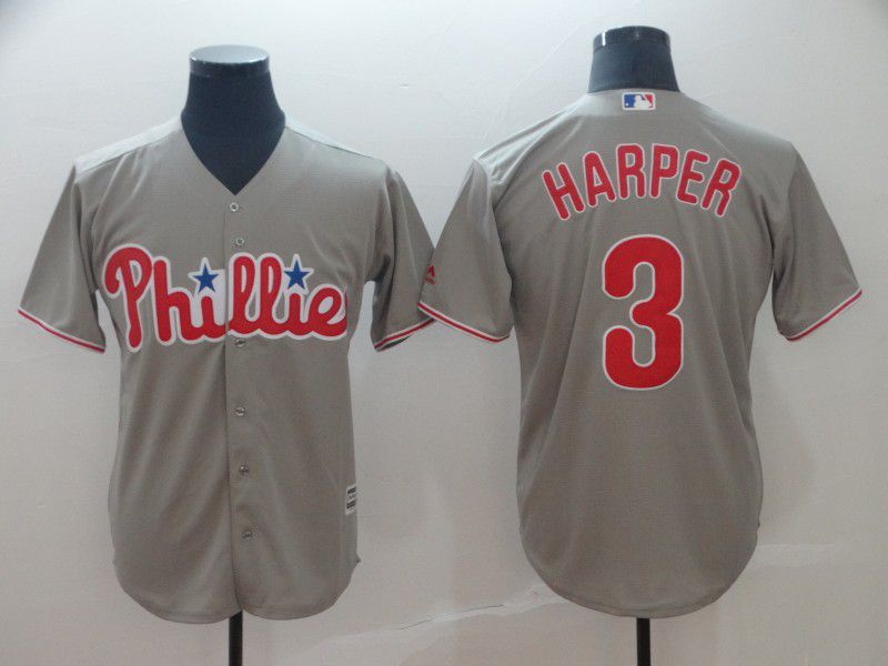 2019 MLB Men Philadelphia Phillies 3 Bryce Harper grey game Jerseys