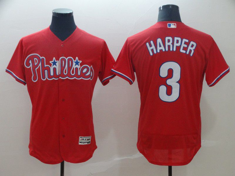 2019 MLB Men Philadelphia Phillies 3 Bryce Harper red Flexbase Jerseys