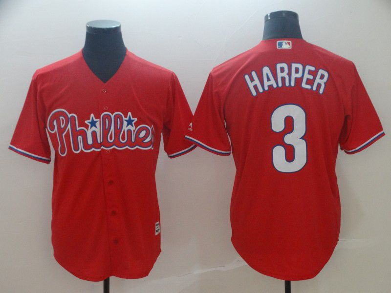 2019 MLB Men Philadelphia Phillies 3 Bryce Harper red game Jerseys