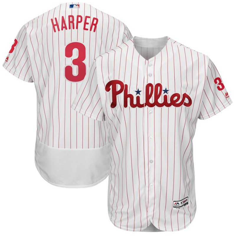 2019 MLB Men Philadelphia Phillies 3 Bryce Harper white Flexbase Jerseys