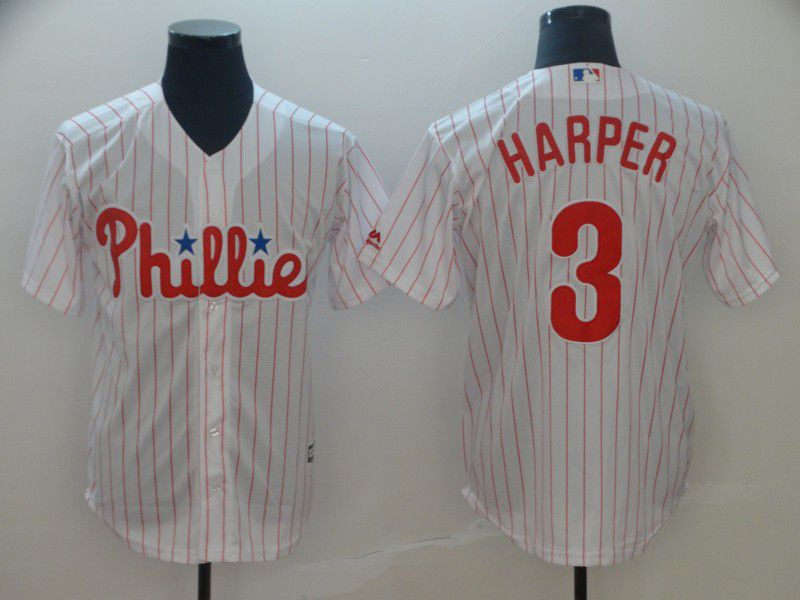 2019 MLB Men Philadelphia Phillies 3 Bryce Harper white game Jerseys