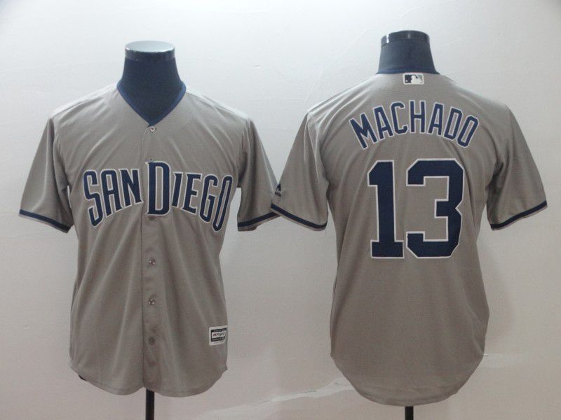 2019 MLB Men San Diego Padres 13 Machado grey game Jerseys