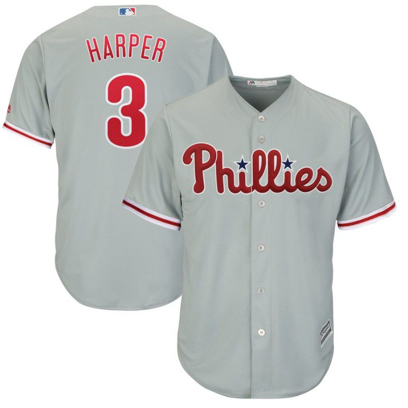 2019 MLB women Philadelphia Phillies 3 Bryce Harper grey game Jerseys