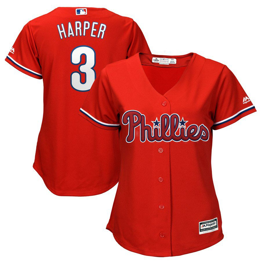 2019 MLB women Philadelphia Phillies 3 Bryce Harper red Jerseys