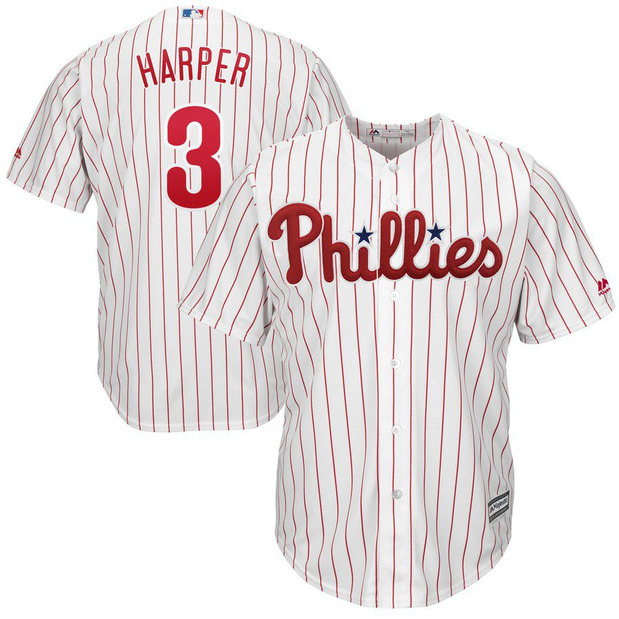 2019 MLB youth Philadelphia Phillies 3 Bryce Harper white red strips Jerseys