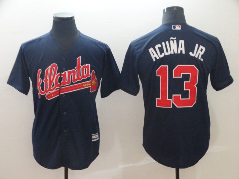 2019 Men Atlanta Braves 13 Acuna JR Blue Game MLB Jerseys